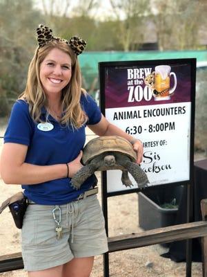 Animal Care Keeper, Misha, and desert tortoise, Hercules.