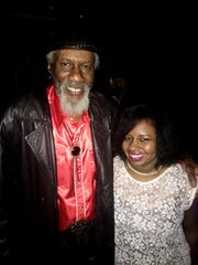 Blues singer Robert Finley with The Times' reporter Tiana Kennell at the Easy Eye Sound Revue in February in Dallas.