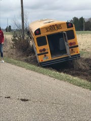 A school bus driver got too close to the soft shoulder on North Road in Sigel Wednesday and put her bus into a ditch.