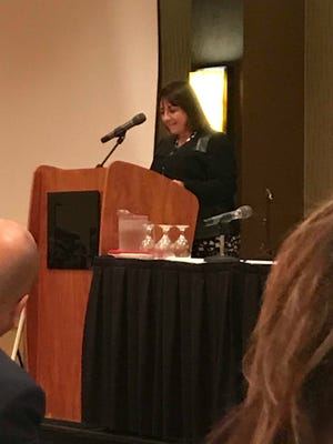 Tonette Walker, wife to Wisconsin Governor Scott Walker, talks about trauma-informed care during a seminar in Manitowoc May 3.