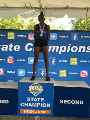 Booker T. Washington's Tytavia Hardy stands alone atop the podium after claiming the Class 3A high jump state title at the FHSAA State Meet on May 5, 2018.