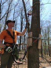 John Matusiewicz of Mountain Creek explains the ins and outs of the TreEscape Aerial Adventure Ropes Course at Mountain Creek in Vernon, N.J. on May 3, 2018.