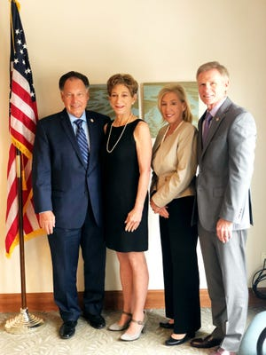 Orange County District Attorney Tony Rackauckas, Santa Barbara County District Attorney Joyce E. Dudley, Sacramento County District Attorney Anne Marie Schubert and Ventura County District Attorney Greg Totten met on May 11, 2018, to discuss the next steps in the prosecution of Golden State Killer suspect Joseph James DeAngelo, 72, of Citrus Heights.