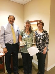 Kelly Ness, material management coordinator for Manitowoc's Felician Village, was chosen for the Service Excellence Star Award for the month of April. Pictured from left: Frank Soltys, president/CEO; Kay Kopenski, vice president of health services; Jill Schramm, service excellence winner; and Lisa Voda, assisted living manager.