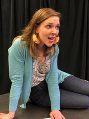 Kilee Rheinsburg rehearses for Lost Dog by Deborah Vaughn, which will be performed by Theatre 33 May 18 and 19.