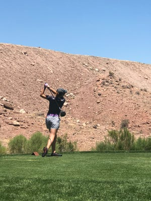 Desert Hills' Tori Thomas was in second after Round 1 of the Utah 4A Girls High School State Championship at Sunbrook Golf Course in St. George on May 16, 2018.