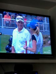 Jenni Pate caddied for her father, Jerry Pate, during the Regions Tradition in Birmingham and was shown on The Golf Channel broadcast.