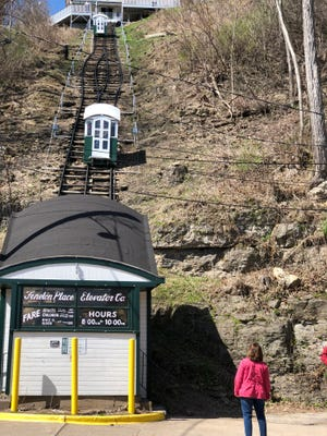 The Fenelon Place Elevator carries passengers for 296 feet up a steep hillside in Dubuque.