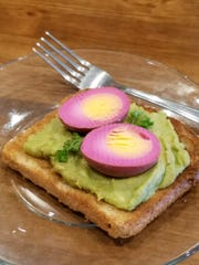 Planters offers a new twist on avocado toast--whole grain toast with avocado spread and a beet pickled boiled egg.