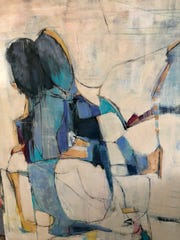 """Marcia Reich, """"The Lovers,"""" paint and mixed media on canvas."""