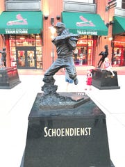 The Red Schoendienst statue outside Busch Stadium.
