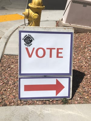 Sign indicating the polling location for Mesquite primary elections on June 12, 2018.