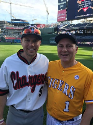 'We talk about all the time. We're not supposed to be here,' Oakland County native Matt Mika, left, said of himself and fellow shooting victim GOP Rep. Steve Scalise, who were severely wounded by a gunman a year ago at practice for the Congressional Baseball Game. Mika wears his Southfield-Lathrup High School jersey.