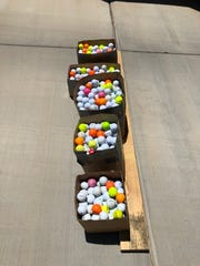 A look at the 877 golf balls Mesquite resident Robert Olson donated to the Virgin Valley Junior Golf Association.