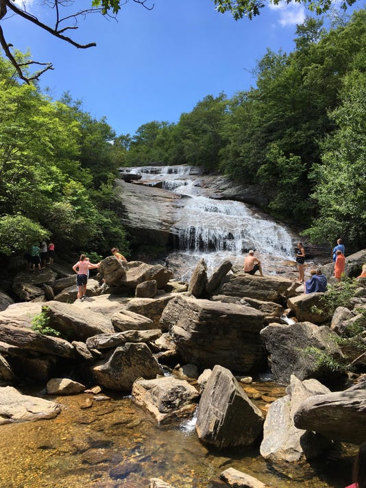 Graveyard Fields Waterfall with People