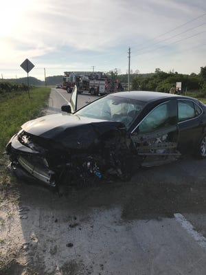 One man was taken to the hospital after a collision between a tractor-trailer rig and a passenger car on Alico Road near Green Meadow Road.