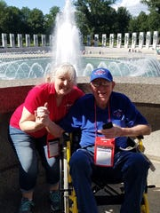 The fountain at the World War II memorial was a popular place for Honor Flight DFW attendees Lee Trumbo, right, and his daughter, Bobbie Byrd. The pair toured Washington, D.C., on the Honor Flight June 15 and 16.