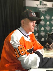 Gavin Hain fields questions after being selected by the Flyers in the sixth round.