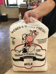 Milk is sold by the gallon bag at Weber's Farm Store.