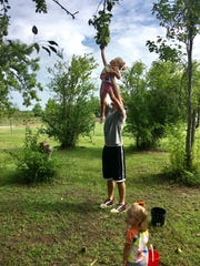 Eric Guidry helps daughter Avery, 4, pick a pear at