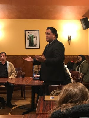 """Stephen Arienta of Wanaque, N.J. talks to a crowd of Wanaque and Ringwood residents about school security on Feb. 22, 2018. The former police detective is a contestant on season 20 of CBS's """"Big Brother."""""""