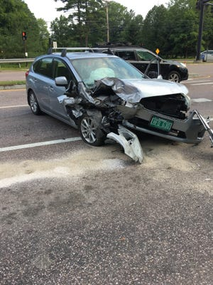 South Burlington police say this car, driven by Trevor Cayia while he was allegedly intoxicated, slammed into the back of cars stopped at a stop light on Kennedy Drive on Monday, July 2, 2018.