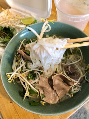 A bowl of takeout pho from Tran's Seafood in Fort Myers.