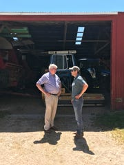 Adam Warthesen, right, of Organic Valley, discusses policy with Rep. Glenn Grothman.