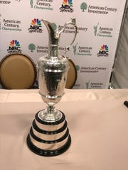 The Claret Jug, the trophy for winning the The British Open, was nn display at Edgewood, as part of its tour across the United States.