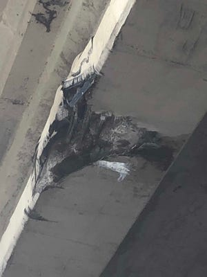 Pictured is damage caused to the McBride Lane overpass on Interstate Highway 37 sometime on Saturday, July 14, 2018.