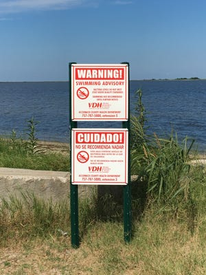 A sign advising swimmers to stay out of the water is posted at Guard Shore Beach in Bloxom, Virginia.