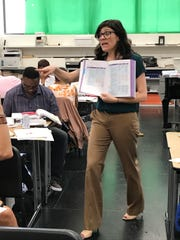 Erin Gutfreund, a senior professional development specialist at EL Education, told the teachers in training that they must acknowledge the need to make a huge paradigm shift as they approach the new curriculum at Detroit Public Schools Community District during a teachers' training session at Martin Luther King Jr. High School in Detroit on July 17, 2018.
