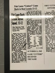 "A copy of the newspaper article that first dubbed Fair Lawn the ""Cutters"" hangs in the hallway leading to the high school's gym."