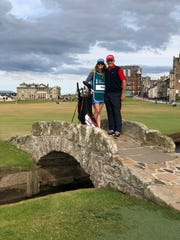Jerry Pate and his daughter, Jenni, on the famous bridge on the 18th hole at the Old Course at St. Andrews where they will compete in Thursday's Senior British Open.