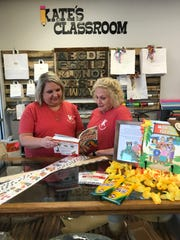 Kate Morris of Flowood, left, owner of Kate's Classroom
