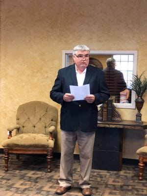 Tim Brewer makes an speech Tuesday during his announcement at Nortex Realty that he will be running for the Wichita Falls City council, District 4 seat.