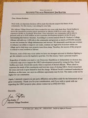 Allouez Village President Jim Rafter penned a letter in support of state Rep. David Steffen ahead of the Nov. 6 election.