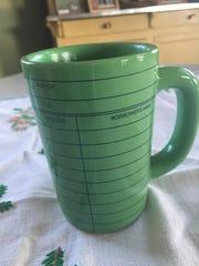 "Book-lover gift: A ""library card"" mug."