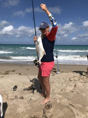 """Diane Harmon caught this impressive 16"""" pompano while fishing the Hobe Sound Wildlife Refuge on March 20. She was using shrimp-flavored Fishbites for bait."""