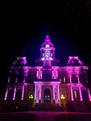 The Guernsey County Courthouse will illuminated be purple during the month of June to bring awareness of elder abuse to the community.