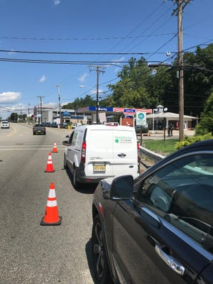 Widespread power outages in Pompton Lakes, Wanaque and West Milford have closed many gas stations. This Liberty gas station on the Hamburg Turnpike in Pompton Lakes is open but has a line.