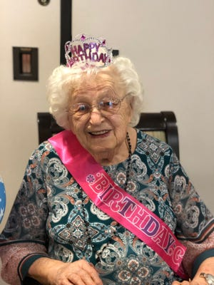 "Brethren Care in Ashland celebrated June Lemmel's 104th birthday on Friday, June 12. The celebration included lunch, birthday cake and the singing of ""Happy Birthday."""