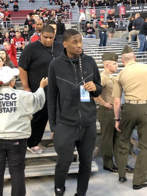 Malaki Branham, a combo guard from Akron St. Vincent-St. Mary in the class of 2021, attended the Ohio State football game Saturday night against Michigan State as part of his official visit.