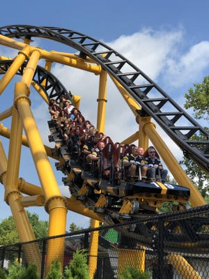 The new Steel Curtain roller coaster at Kennywood Park offers plenty of twists and turns.