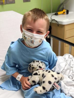 Patient Maddox Dammann, age 4, prepping for a tonsillectomy and adenoidectomy at Nationwide Children's Hospital on June 29.