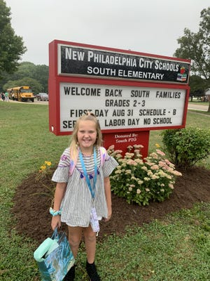 Josie Hanes, a third grader at South Elementary in New Philadelphia, is excited about going back to school.  Her parents are Jason and Jennifer Hanes of New Philadelphia. If you have a back to school photo you'd like to share with our readers, send a .jpg image to hank.keathley@timesreporter.com. Be sure to include identification of those pictured, name and grade of school and other information for a photo caption.
