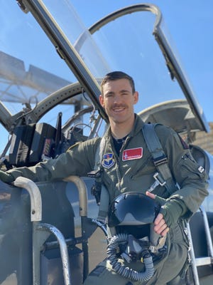 Kevin Domingue of Lake Dallas is pictured next to a T-38 training aircraft.