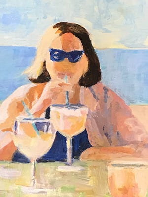 "Linda Farmer's oil painting ""Too Many Margaritas"" is among the artwork in Highfield Hall & Gardens' ""60/60: Over Sixty Pieces of Art by Women Over Sixty"" exhibit that is now virtual until the Falmouth hall can open its doors."