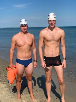 Tyler Roethke, left, and Grant Wentworth will attempt a 6-mile swim from Falmouth to Martha's Vineyard on Saturday, with money raised through Swim Across America to benefit Nantucket Cottage Hospital and Palliative & Supportive Care of Nantucket. To donate, go to swimacrossamerica.org/tyler.