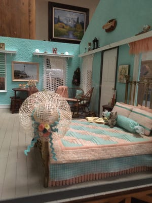 """Members of the Miniaturists of Lubbock worked to create small creations like this for their """"Beach House"""" themed exhibit Saturday and Sunday at the Lubbock Garden and Arts Center."""